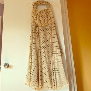 MaxMara polka dot strapless silk dress w a scarf